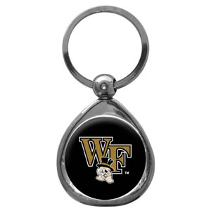 Wake Forest Chrome Key Chain - Our collegiate chrome keychain has a high polish nickel keychain with domed team logo insert. Thank you for shopping with CrazedOutSports.com