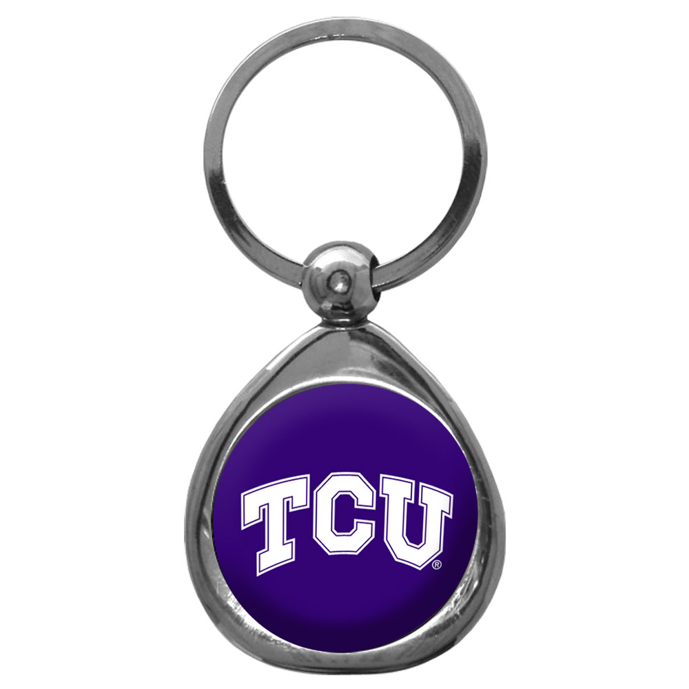 TCU Horned Frogs Chrome Key Chain - Our stylish, high-polish TCU Horned Frogs key chain is a great way to carry your team with your. The key fob features a raised team dome.