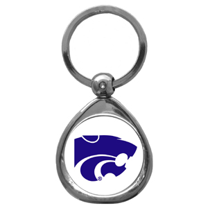 Kansas St. Wildcats Chrome Key Chain - This Kansas St. Wildcats Chrome chrome keychain has a high polish nickel keychain with domed team logo insert. Thank you for shopping with CrazedOutSports.com