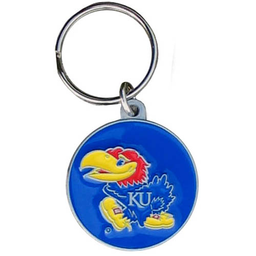 Kansas Jayhawks College Key Chain - Kansas Jayhawks college team logo key ring is sculpted and enameled. A great way to show school spirit! Check out our entire line of  collegiate key rings! Thank you for shopping with CrazedOutSports.com