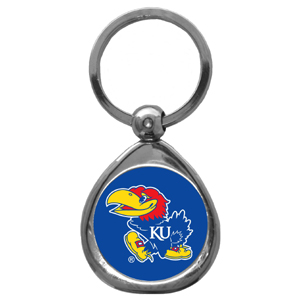 Kansas Jayhawks Chrome Key Chain - Kansas Jayhawks chrome keychain has a high polish nickel keychain with domed team logo insert. Thank you for shopping with CrazedOutSports.com