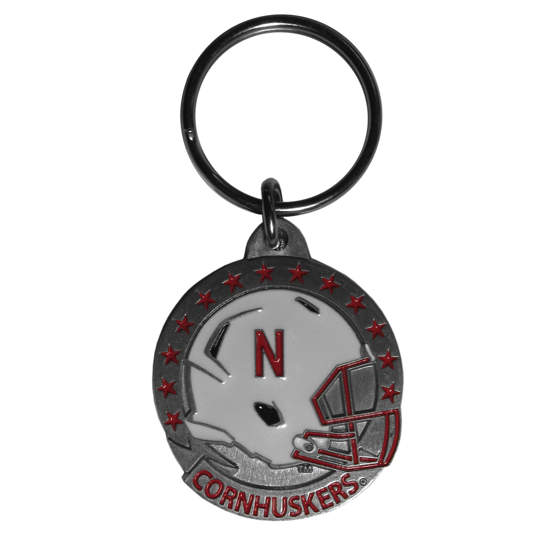 Nebraska Cornhuskers College Key Chain -  college team logo key ring is sculpted and enameled. A great way to show school spirit! Check out our entire line of  collegiate key rings! Thank you for shopping with CrazedOutSports.com