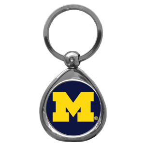 Michigan Wolverines Chrome Key Chain - This collegiate Michigan Wolverines Chrome Key Chain has a high polish nickel keychain with domed team logo insert. Thank you for shopping with CrazedOutSports.com