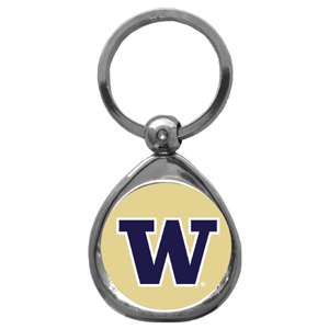 Washington Huskies Chrome Key Chain - Our collegiate chrome keychain has a high polish nickel keychain with domed team logo insert. Thank you for shopping with CrazedOutSports.com