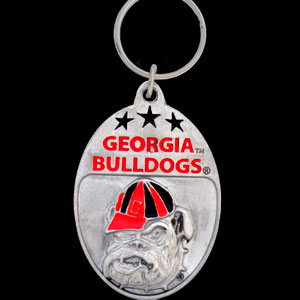 Georgia Bulldogs College Key Chain - Georgia Bulldogs college team logo key ring is sculpted and enameled. A great way to show Georgia Bulldogs school spirit! Check out our entire line of  collegiate key rings! Thank you for shopping with CrazedOutSports.com