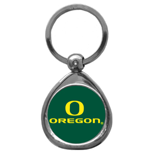 Oregon Ducks Chrome Key Chain - Our collegiate chrome keychain has a high polish nickel keychain with domed team logo insert. Thank you for shopping with CrazedOutSports.com