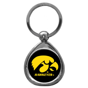 Iowa Hawkeyes Chrome Key Chain - Our Iowa Hawkeyes chrome keychain has a high polish nickel keychain with domed team logo insert. Thank you for shopping with CrazedOutSports.com