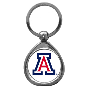 Arizona Wildcats Chrome Key Chain - Our collegiate chrome keychain has a high polish nickel keychain with domed Arizona Wildcats team logo insert. Thank you for shopping with CrazedOutSports.com