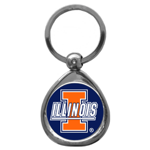 Illinois Fighting Illini Chrome Key Chain - Our collegiate Illinois Fighting Illini chrome keychain has a high polish nickel keychain with domed team logo insert. Thank you for shopping with CrazedOutSports.com