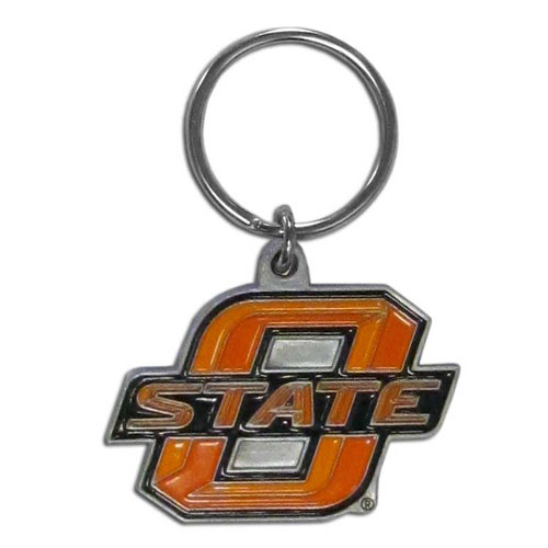 Oklahoma St Cowboys College Key Chain -  college team logo key ring is sculpted and enameled. A great way to show school spirit! Check out our entire line of  collegiate key rings! Thank you for shopping with CrazedOutSports.com