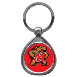 Maryland Terrapins Chrome Keychain - This collegiate Maryland Terrapins Chrome Keychain has a high polish nickel keychain with domed team logo insert. Thank you for shopping with CrazedOutSports.com