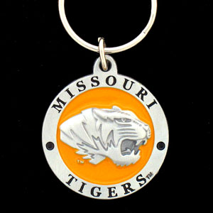 Missouri Tigers College Key Chain -  college team logo key ring is sculpted and enameled. A great way to show school spirit! Check out our entire line of  collegiate key rings! Thank you for shopping with CrazedOutSports.com
