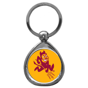 Arizona St. Sun Devils Chrome Key Chain - Our Arizona State Sun Devils collegiate chrome keychain has a high polish nickel keychain with domed team logo insert. Thank you for shopping with CrazedOutSports.com
