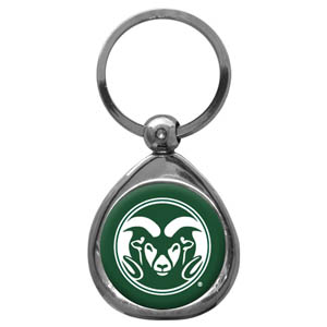Colorado State Rams Chrome Key Chain - Our collegiate chrome keychain has a high polish nickel keychain with domed Colorado State Rams team logo insert. Thank you for shopping with CrazedOutSports.com