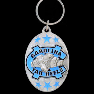 N Carolina Tar Heels College Key Chain -  college team logo key ring is sculpted and enameled. A great way to show school spirit! Check out our entire line of  collegiate key rings! Thank you for shopping with CrazedOutSports.com