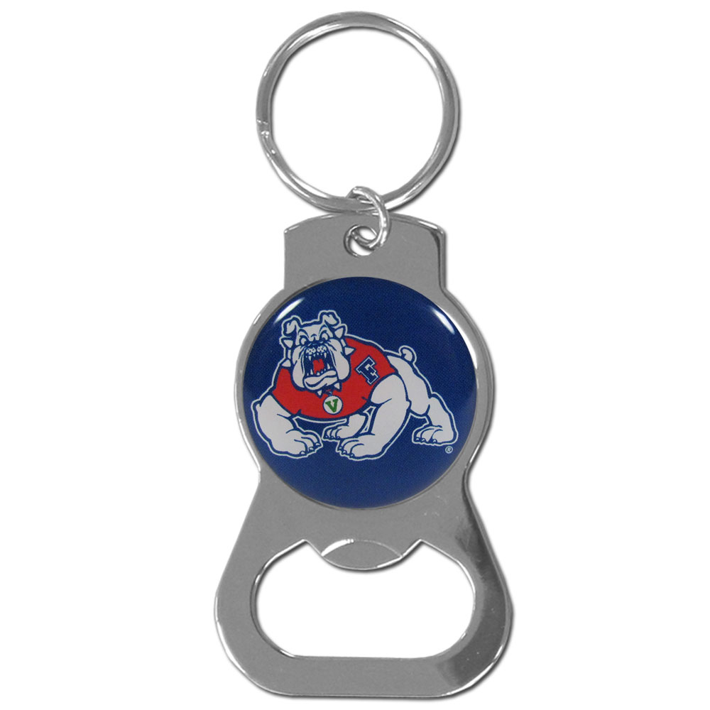 Fresno St. Bulldogs Bottle Opener Key Chain - Hate searching for a bottle opener, get our Fresno St. Bulldogs bottle opener key chain and never have to search again! The high polish key chain features a bright team emblem.
