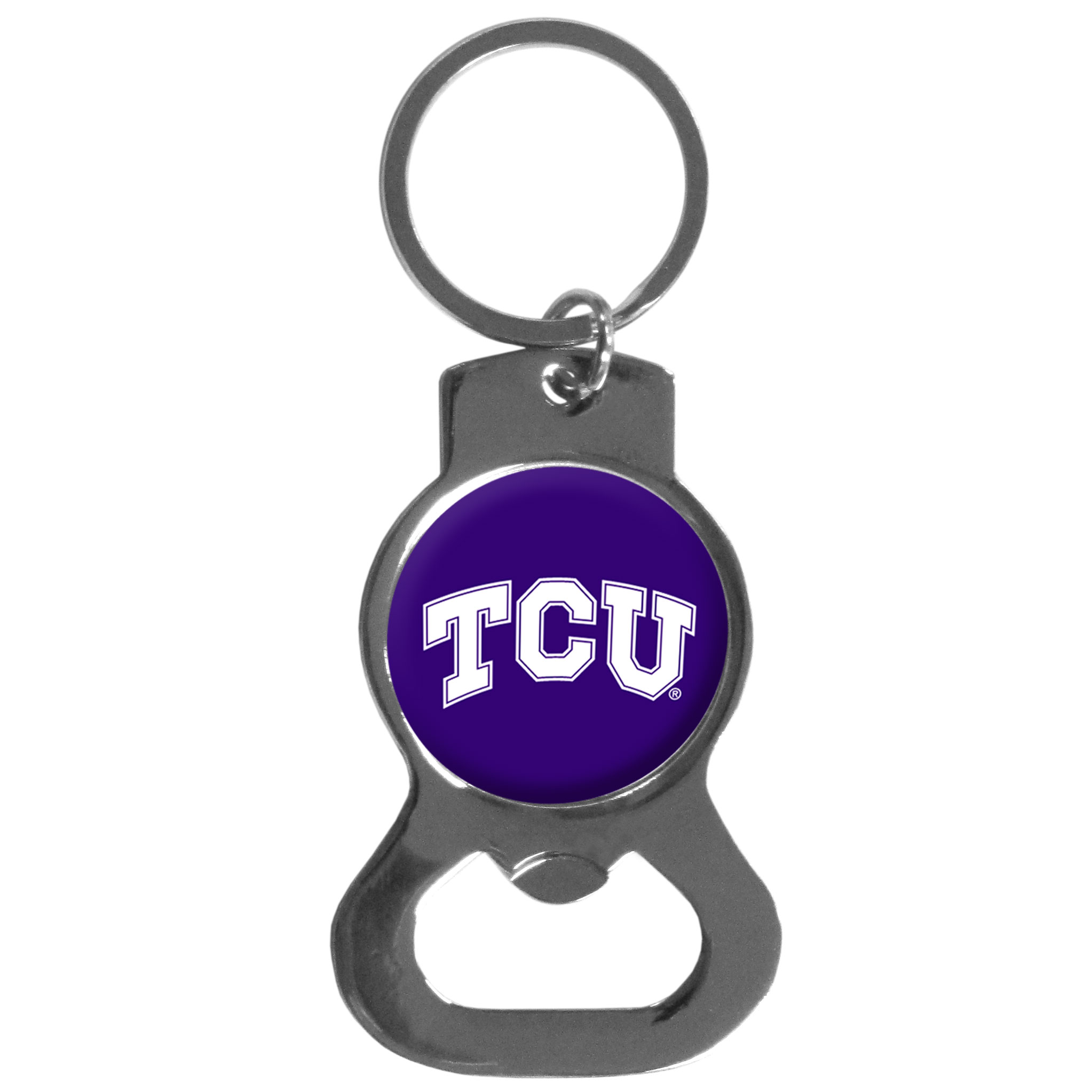 TCU Horned Frogs Bottle Opener Key Chain - Hate searching for a bottle opener, get our TCU Horned Frogs bottle opener key chain and never have to search again! The high polish key chain features a bright team emblem.