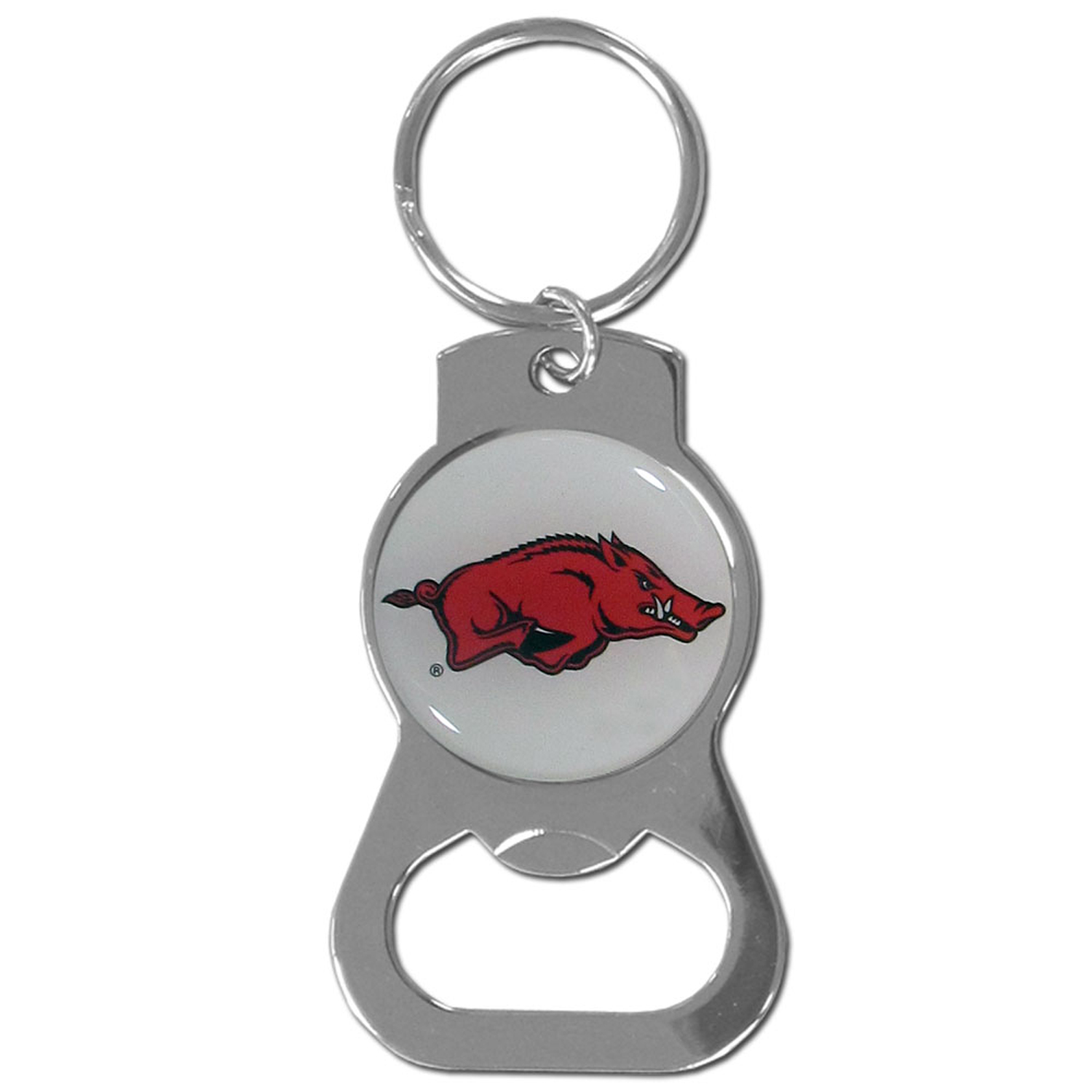 Arkansas Razorbacks Bottle Opener Key Chain - Hate searching for a bottle opener, get our Arkansas Razorbacks bottle opener key chain and never have to search again! The high polish key chain features a bright team emblem.