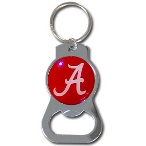 College Key Chain - Alabama Crimson Tide - Our Alabama Crimson Tide collegiate bottle opener key chain has a polished chrome finish and features the school logo.  Thank you for shopping with CrazedOutSports.com