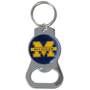 Michigan Wolverines Bottle Opener Key Chain - This collegiate Michigan Wolverines Bottle Opener Key Chain has a polished chrome finish and features the school logo. Thank you for shopping with CrazedOutSports.com