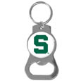 Michigan St. Spartans Bottle Opener Key Chain - This collegiate Michigan St. Spartans Bottle Opener Key Chain has a polished chrome finish and features the school logo. Thank you for shopping with CrazedOutSports.com