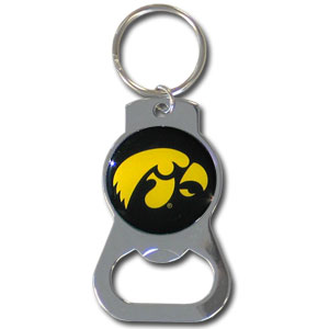 College Key Chain - Iowa Hawkeyes - Our Iowa Hawkeyes bottle opener key chain has a polished chrome finish and features the school logo. Thank you for shopping with CrazedOutSports.com