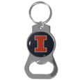 Illinois Fighting Illini Bottle Opener Key Chain - Hate searching for a bottle opener, get our Illinois Fighting Illini bottle opener key chain and never have to search again! The high polish Illinois Fighting Illini bottle opener key chain features a bright team emblem.