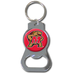 Maryland Terrapins College Key Chain - This collegiate Maryland Terrapins bottle opener key chain has a polished chrome finish and features the school logo.  Thank you for shopping with CrazedOutSports.com