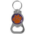 Clemson Tigers Bottle Opener Key Chain - Hate searching for a bottle opener, get our Clemson Tigers bottle opener key chain and never have to search again! The high polish key chain features a bright team emblem.