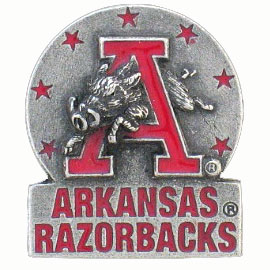 College Team Logo Pin - Arkansas Razorbacks - This Arkansas Razorbacks collegiate team logo pin is sculpted and hand painted . A great gift or addition for any collector! Check out our entire line of  licensed collectibles! Thank you for shopping with CrazedOutSports.com
