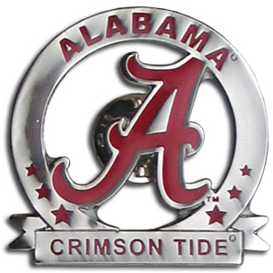 College Pin - Alabama Crimson Tide - Our Alabama Crimson Tide glossy collegiate pins are a great way to show of your school pride. Each pin features a hand enameled finish with a hard glossy coating. Thank you for shopping with CrazedOutSports.com