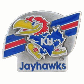 College Team Logo Pin - Kansas Jayhawks - Our Kansas Jayhawks college pins are finely sculpted with hand enameled detail. Check out our entire line of  collegiate merchandise! Alabama Crimson Tide. Check out our entire line of  licensed sports merchandise! Thank you for shopping with CrazedOutSports.com