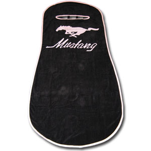 Pink Mustang Seat Towels - This high quality seat towels fits most standard car and truck seats and has elastic straps that hold the decorative and functional towel in place. The Pink Mustang logo is featured boldly on the center of the towel.