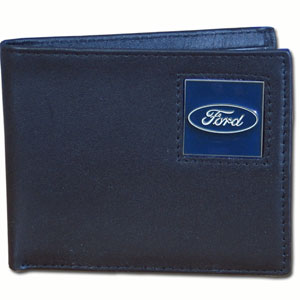 Ford Genuine Leather Bi-fold Wallet - Our Ford bi-fold wallet is made of high quality fine grain leather with the Ford oval emblem sculpted in zinc with a hand enameled finish.