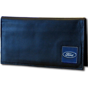 Ford Genuine Leather Deluxe Checkbook Cover - This Ford Deluxe Genuine Leather Checkbook is made of high quality leather and includes, card holder, clear ID window and inside zipper pocket for added storage. The checkbook cover features a Ford Oval emblem sculpted in zinc with a hand enameled finish.