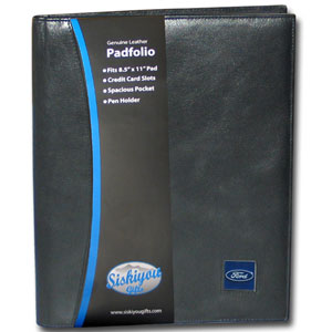 "Ford Genuine Leather Portfolio - This Ford genuine leather portfolio fits an 8 1/2"" x 11"" writing pad and includes slots for your credit cards, a spacious pocket and a pen holder. The front features a hand painted metal square with the Ford oval logo."