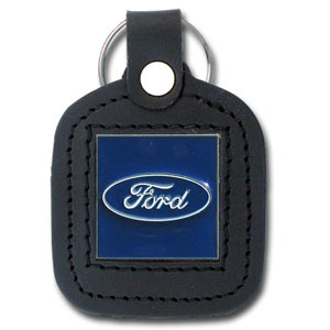 Ford Leather Key Ring - This Ford leather key ring features the Ford oval sculpted in zinc with a hand enameled finish.