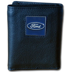 Ford Genuine Leather Tri-fold Wallet - This Ford Genuine Leather Tri-fold Wallet is made of high quality fine grain leather with the Ford oval emblem sculpted in zinc with a hand enameled finish.