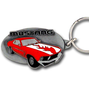 Ford Mustang Key Ring - This intricately carved Ford Mustang Key Ring is hand enameled featuring a hot mustang with flames. Check out our entire line of  Ford merchandise! Check out our entire line of  Ford merchandise!