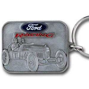 Ford Racing Car Key Ring - This intricately carved Ford Racing key ring is hand enameled featuring Ford Racing. Check out our entire line of  Ford merchandise! Check out our entire line of  Ford merchandise!