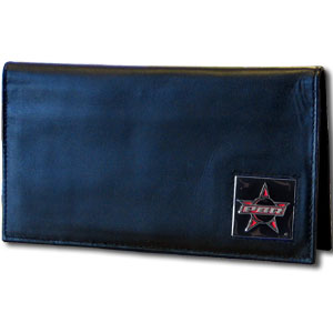 PBR Leather Deluxe Checkbook Cover - Our PBR Deluxe Checkbook Cover is made of high quality leather and includes a card holder, clear ID window, and inside zipper pocket for added storage. PBR square is sculpted and enameled with fine detail.