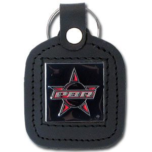 PBR Leather Keyring - This square PBR key ring features fine leather surrounding a sculpted and enameled logo.