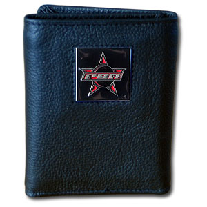 PBR Leather Tri-fold Wallet - Our Executive Bi-folds wallets are made of high quality fine grain leather with a sculpted PBR emblem.