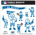 Oakland Raiders Large Family Decal Set - Show off your team pride with our Oakland Raiders family automotive decals. The set includes 9 individual family themed decals that each feature the team logo. The large characters are a full 6 inches tall! The 11 x 11 inch decal set is made of outdoor rated, repositionable vinyl for durability and easy application. Officially licensed NFL product Licensee: Siskiyou Buckle Thank you for visiting CrazedOutSports.com