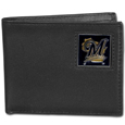 Milwaukee Brewers Leather Bi-fold Wallet Packaged in Gift Box