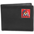 Miami Marlins Leather Bi-fold Wallet Packaged in Gift Box