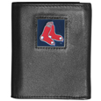 Boston Red Sox Deluxe Leather Tri-fold Wallet Packaged in Gift Box