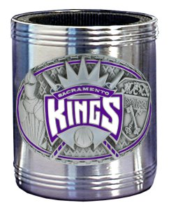 NBA Can Cooler - Pewter Emblem Sacramento Kings - This NBA Sacramento Kings stainless steel can cooler keeps canned beverages cool in style. Team colors are expertly enameled on emblem depicting the Sacramento Kings team and the city they represent. Check out our entire line of  NBA merchandise!