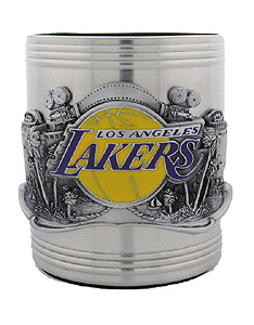 NBA Can Cooler - Pewter Emblem Los Angeles Lakers - This NBA Los Angeles Lakers stainless steel can keeps canned beverages cool in style. Los Angeles Lakers Team colors are expertly enameled on emblem depicting the team and the city they represent. Check out our entire line of  NBA merchandise!
