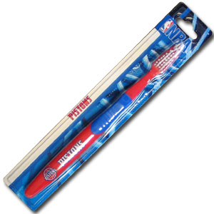 NBA Toothbrush - Detroit Pistons - A great way to show off your Detroit Pistons team spirit! Our NBA Licensed Detroit Pistons toothbrushes have opposing angled bristles to reach between teeth with each forward and backward stroke. The extended tip accesses hard-to-reach areas of the mouth.